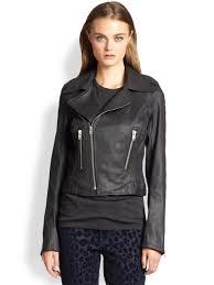 lyst true religion coated denim motorcycle jacket in black
