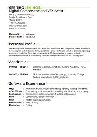 Vfx Resume Samples Brilliant Ideas Of Visual Effects Artist Resume Production Artist 20