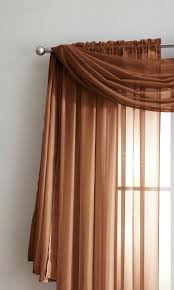 rust valance warm home designs pair of orange sheer curtains or extra long window scarf colored