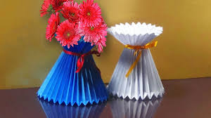 Flower Vase With Paper How To Make A Paper Flower Vase Very Easy And Simple Way Youtube