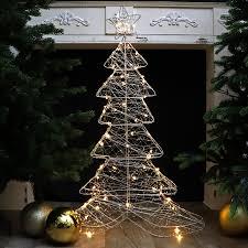 Weihnachtsdeko Tanne Metall 100 Cm Beleuchtet Für Tisch Oder Fenster