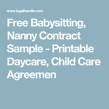 Nanny Contracts Gorgeous Free Babysitting Nanny Contract Sample Printable Daycare Child