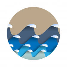 Origami paper waves with <b>sea foam</b> in japanese style <b>Premium</b> Vector