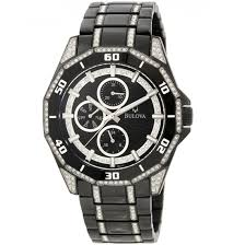 bulova men s watches 199 99 for bulova men s crystal multifunction watch black ss band black dial 98c111 499 list price