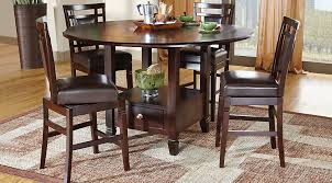 landon chocolate 5 pc counter height dining set room sets pertaining to round idea 4