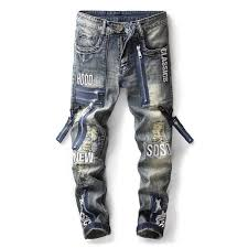 2019 2018 New <b>Fashion</b> Men'S <b>Fake</b> Zipper Hole <b>Splice Jeans</b> ...
