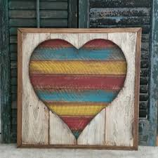 large framed heart cut out pallet art pallet heart reclaimed wood wood wall hanging hand