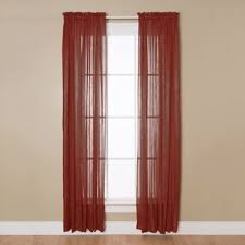 Aria 84-Inch Rod Pocket Sheer Window Curtain Panel in Red