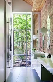 Indoor Outdoor Bathroom Ideas With Exposed Brick Walls