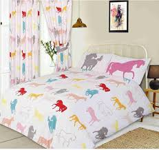 double bed duvet cover set horses pony pink red white grey teal yellow peach