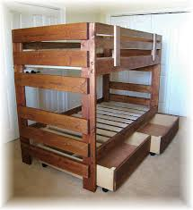 Funny Bunk Bed Plans for Children : Rustic Wooden Style Storage Bunk Bed  Plans Design Ideas