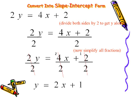 3 slope intercept form is y mx b our main goal is to get the y alone on one side of the equation