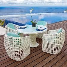 skyline design dynasty white rattan 4 seat outdoor dining set