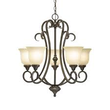 hampton bay lavers hill 5 light iron stone chandelier with frosted glass shade