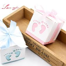 event party gift boxes bags cute candy box baby foot blue pink paper gift boxes decoration for kids birthday party diy baby shower supplies bridal shower