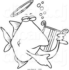 Small Picture Vector of Cartoon Angelfish Playing a Lyre Coloring Page Outline
