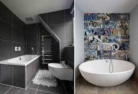 why not inject some personality into your small scale bathroom with a fun statement wallpaper covering one wall with a striking design