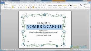 formato mencion de honor como crear un diploma en word 2010 youtube