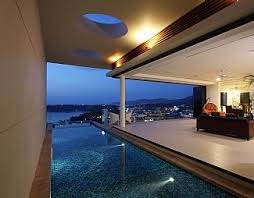 Private salt water pool in the evening