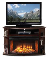 alluring glossy dark brown wooden corner tv stands with fireplace featuring 3 tier open small side