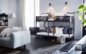 furniture for very small living spaces. a bunk bed in living room with gray and white pillows furniture for very small spaces