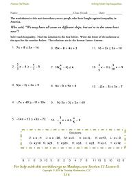 solving multi step inequalities worksheet answers the best