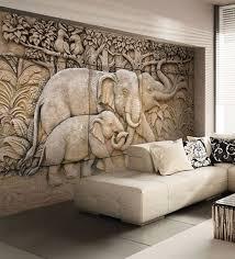 beige non woven paper elephant herd in jungle wallpaper by wallskin