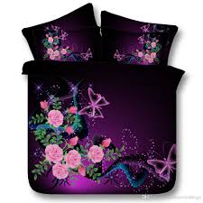 3d galaxy flowers duvet cover bedding sets queen fl bedspreads holiday quilt covers bed linen pillow covers purple erfly duvets king