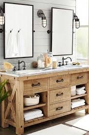 Bathroom Vanity Double Custom Rustic Master Bathroom With European Cabinets Pottery Barn