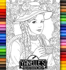 Adult Coloring Page Victorian Era Beautiful Lady Tea Party Etsy
