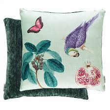 ltd sanderson capuchins parrot sea green cushion