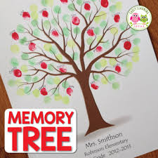 Template Tree End Of Year Gift Customizable Fingerprint Memory Tree Template Seasons Craft
