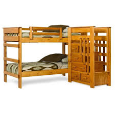 Bedroom: Creative L-shaped Wooden Bunk Beds Design With Stairs And Storage  Underneath -