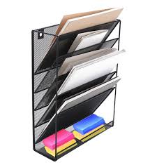 metal mesh wall mounted file organizer rack for office study room black 1 of 3only 0 available