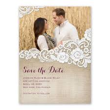 Save The Date For Wedding Burlap And Lace Save The Date Card Anns Bridal Bargains