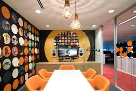 Office & Workspace, Brilliant Office Meeting Room Design Ideas: Artistic  Colorful Office Meeting Room Design With Wall Decor And Orange Chair