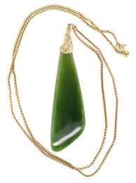 9ct gold chain and nephrite jade