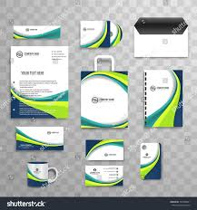 Abstract Business Stationery Set Colorful Wave Stock Vector