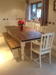 farm table bench rustic farmhouse shabby chic solid dining table bench and 6 chairs