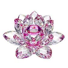 amlong crystal hue reflection crystal lotus flower with gift box pink 3 inch