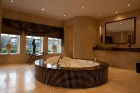 Bathroom:Relaxing Spa Bathroom Design With Wooden Bench Seating And Cream  Tile Wall Ideas Wonderful
