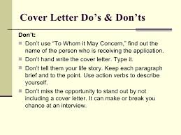 Dos And Don Ts Of Cover Letters Job Searching 101 Resume And Cover Letter