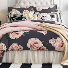 the emily meritt bed of roses duvet cover sham black blush pbteen
