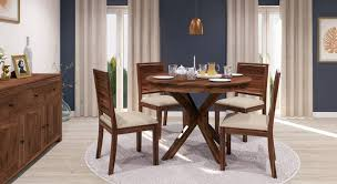 liana oribi 4 seater round dining table set urban ladder