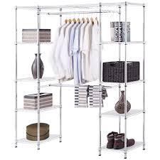 gymax expandable closet organizer free standing clothes hanger rack shelves heavy duty com
