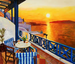 modern art sunset from a terrace in greece 50x60 cm oil painting