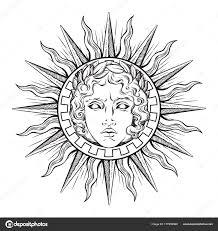 рисованной античный стиль солнце с лицом греческих и римских бога