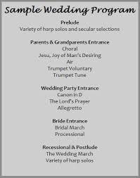 Program Of Events Sample Wedding Harpist Harphouston Com