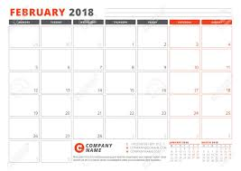 Calendar Template For 2018 Year February Business Planner 2018