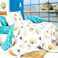 hawaiian duvet covers bedding sets beach turquoise white and orange seashell print beach themed tropical style